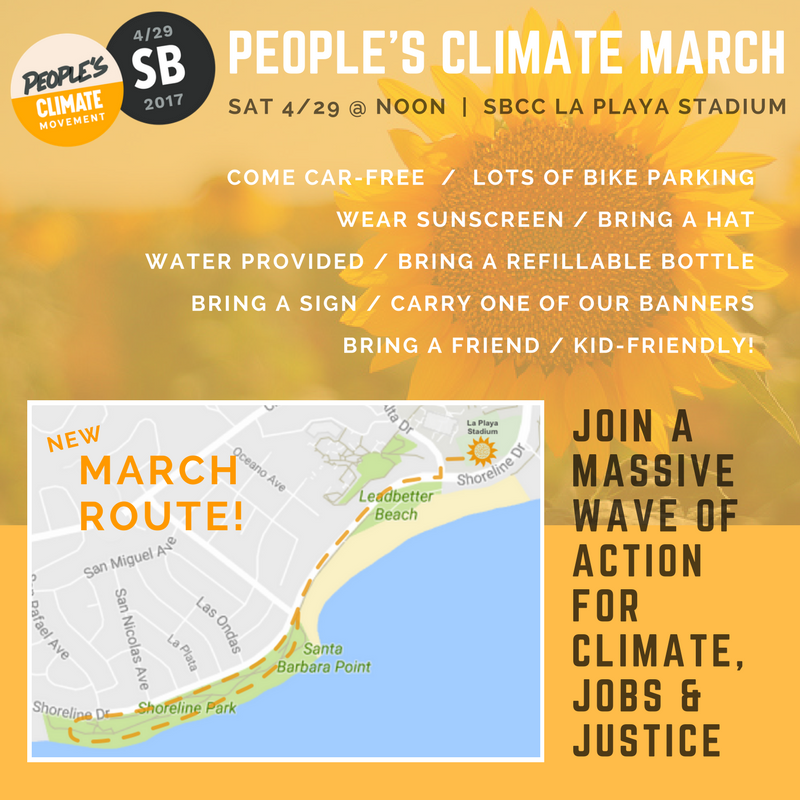 Poster for Peoples-Climate-March April 29, Saturday, noon at the SBCC stadium