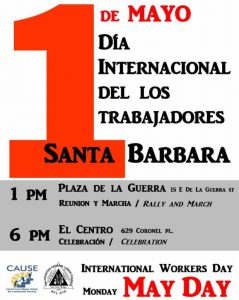 May Day Poster, International Workers Day, 1 pm Rally and March, 6 pm Celebration at El Centro 629 Coronel Place